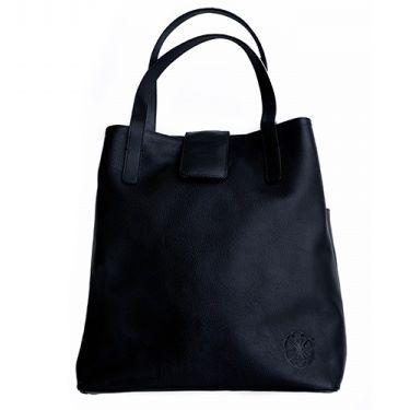 Aicha Ledertasche Aicha handgefertigte schwarze Rindsledertasche