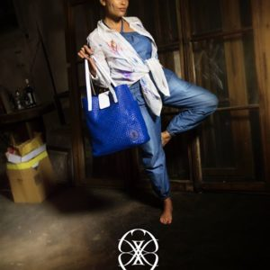 bag blue cowhide leather