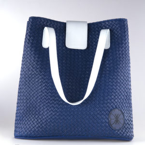 leather bag blue