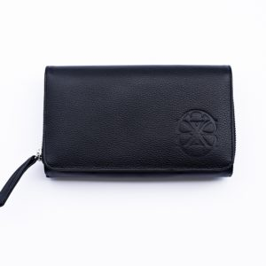 black cowhide leather wallet