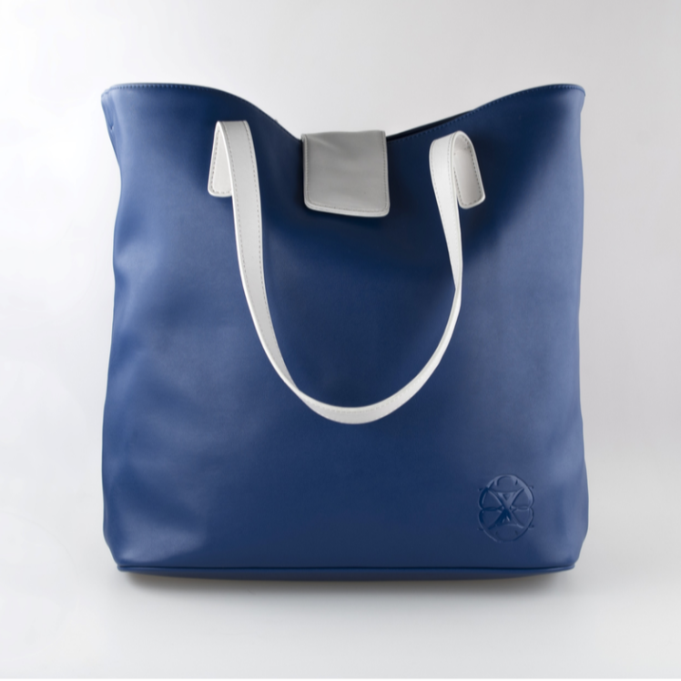 sac a main en microfibre, sac de plage , sac à main bleu et blanc