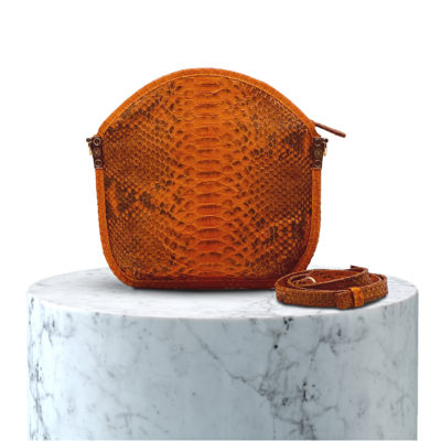 pochette en cuir de python orange