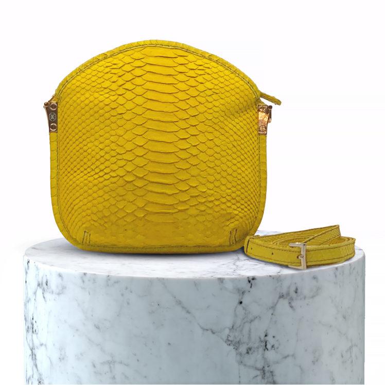 sac en cuir de python jaune