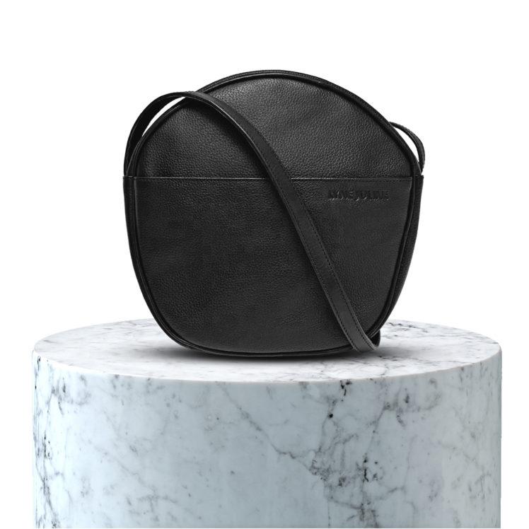 sac en cuir grainé noir