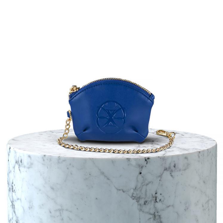 porte monnaie en microfibre bleu et blanc