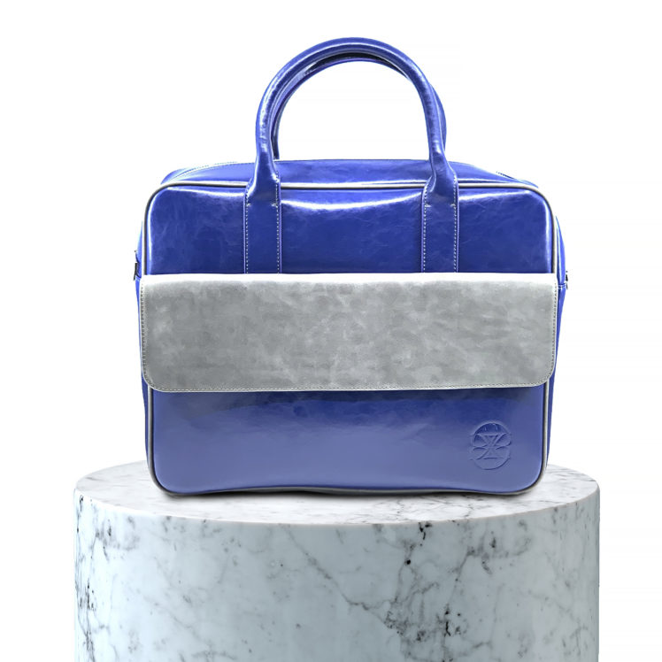 sac en cuir bleu et gris en cuir vintage