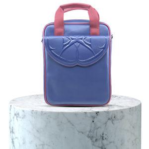 sacoche bleu et rouge en cuir