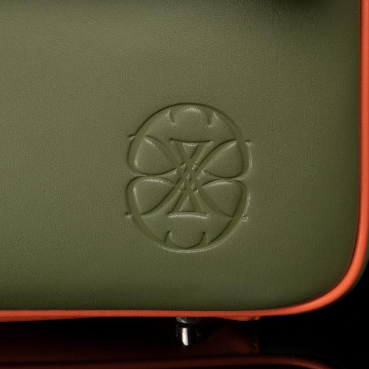 cartable en cuir kaki et orange pour homme