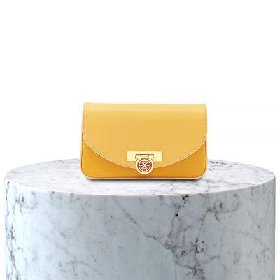 pochette en cuir bicolor beige