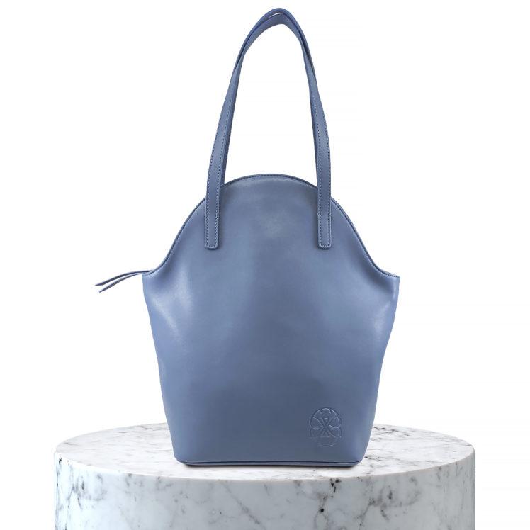 sac en cuir gris bleu