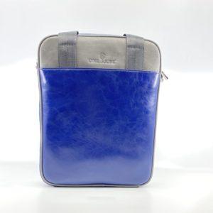 sacoche en cuir vintage bleu et gris