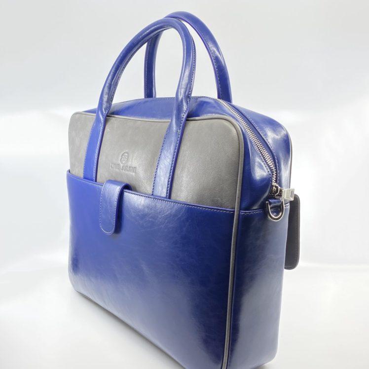 porte document en cuir vintage bleu et gris